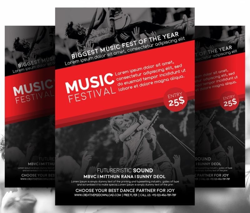 Music Festival Free Flyer PSD - Event brochure template