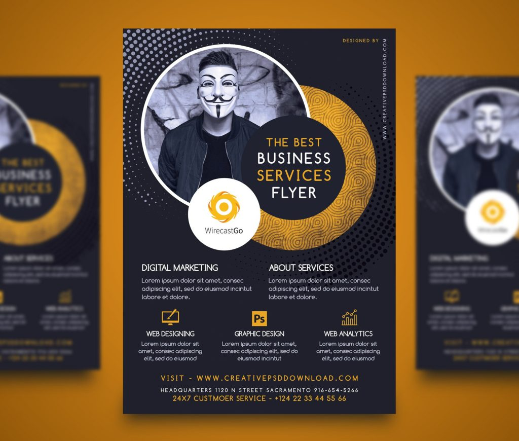 Professional Company Services Flyer Free PSD