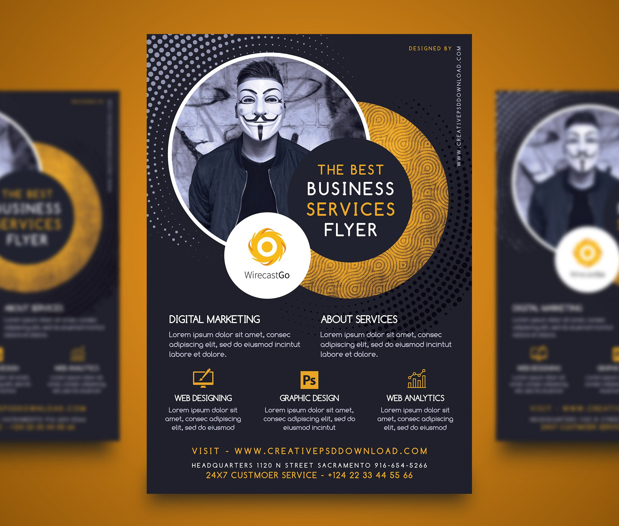 Professional company services flyer free psd for Free business flyer templates