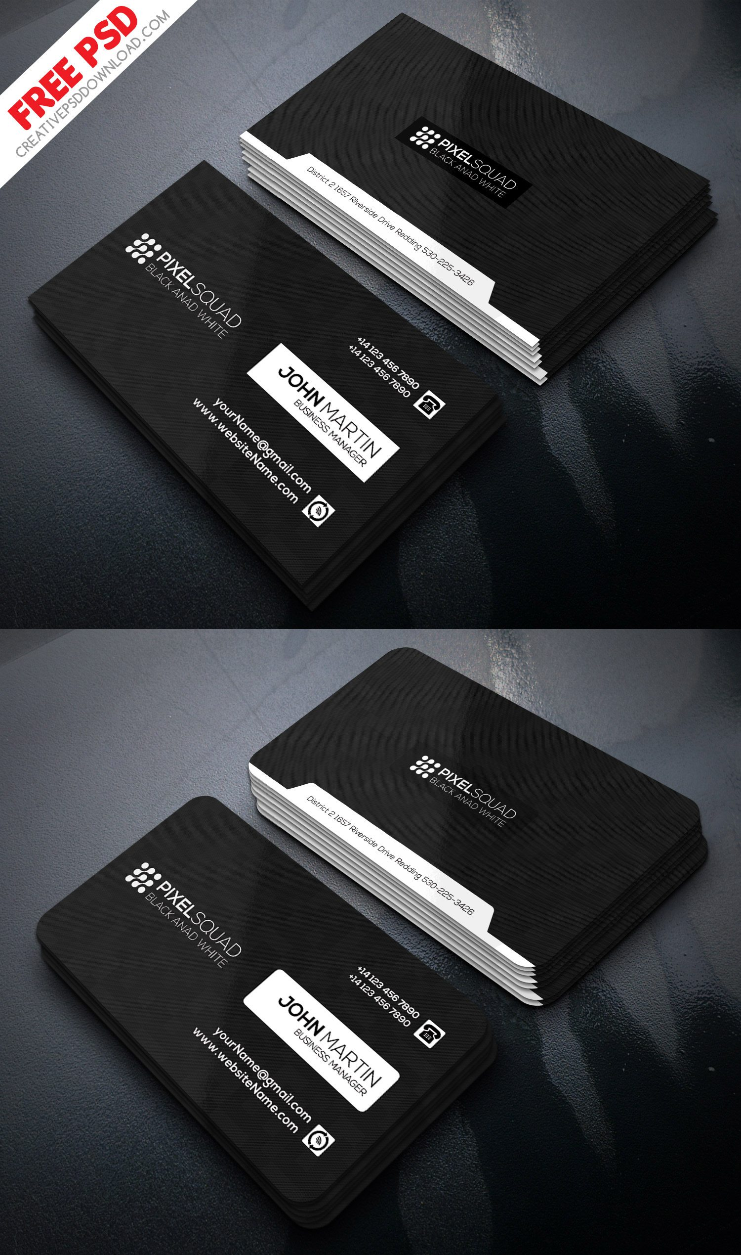 Corporate Black And White Business Card Freebie