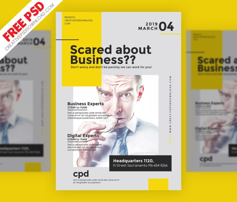 Creative business flyer free psd accmission