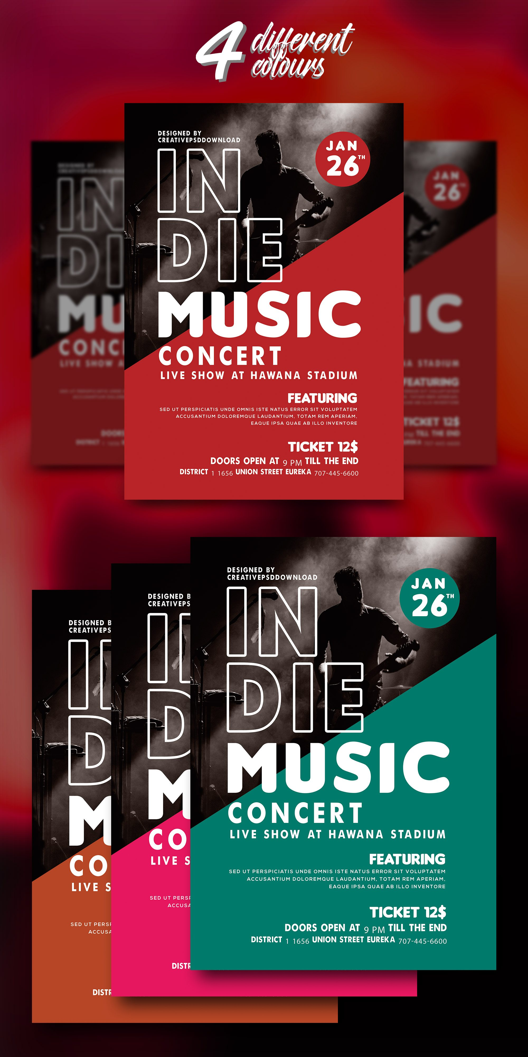 Music Concert Flyer PSD Bundle Freebie