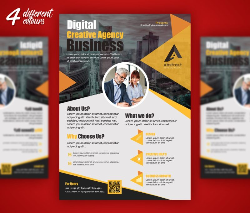 Professional Business Flyer PSD Freebie - Free marketing brochure templates