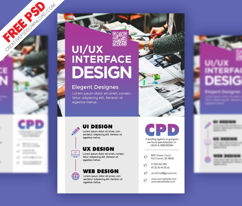 UI/UX Design Flyer PSD Freebie