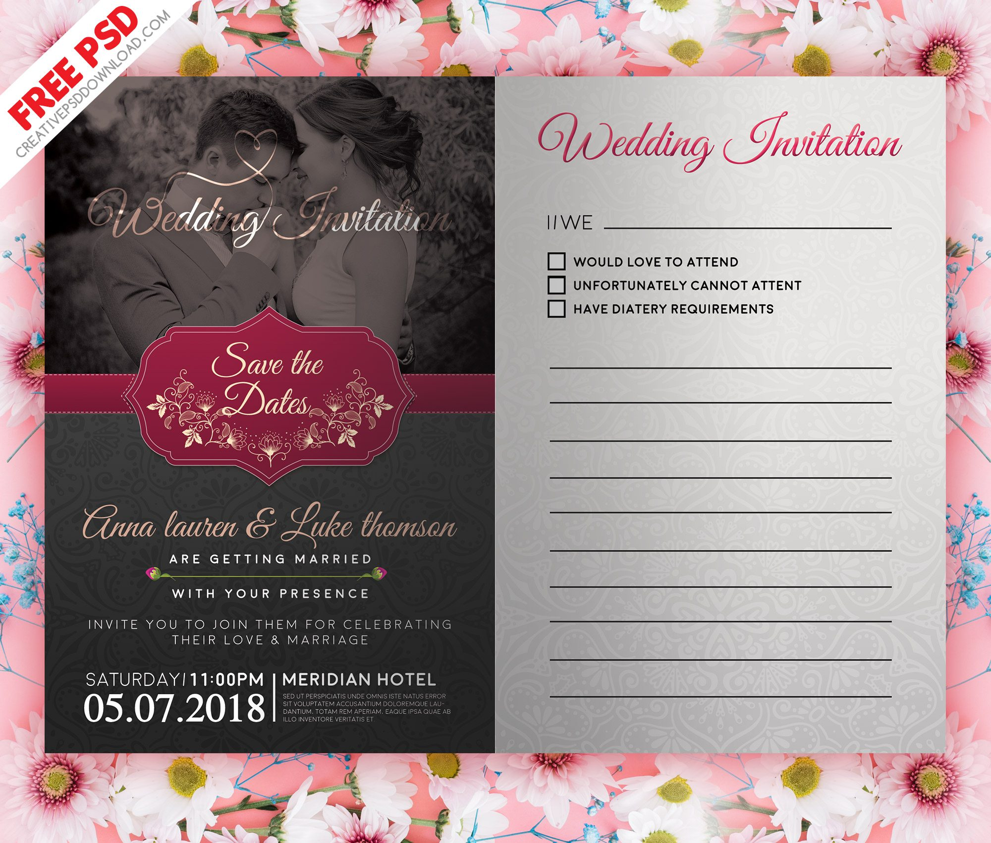 Wedding Invitation Post Card Dark PSD