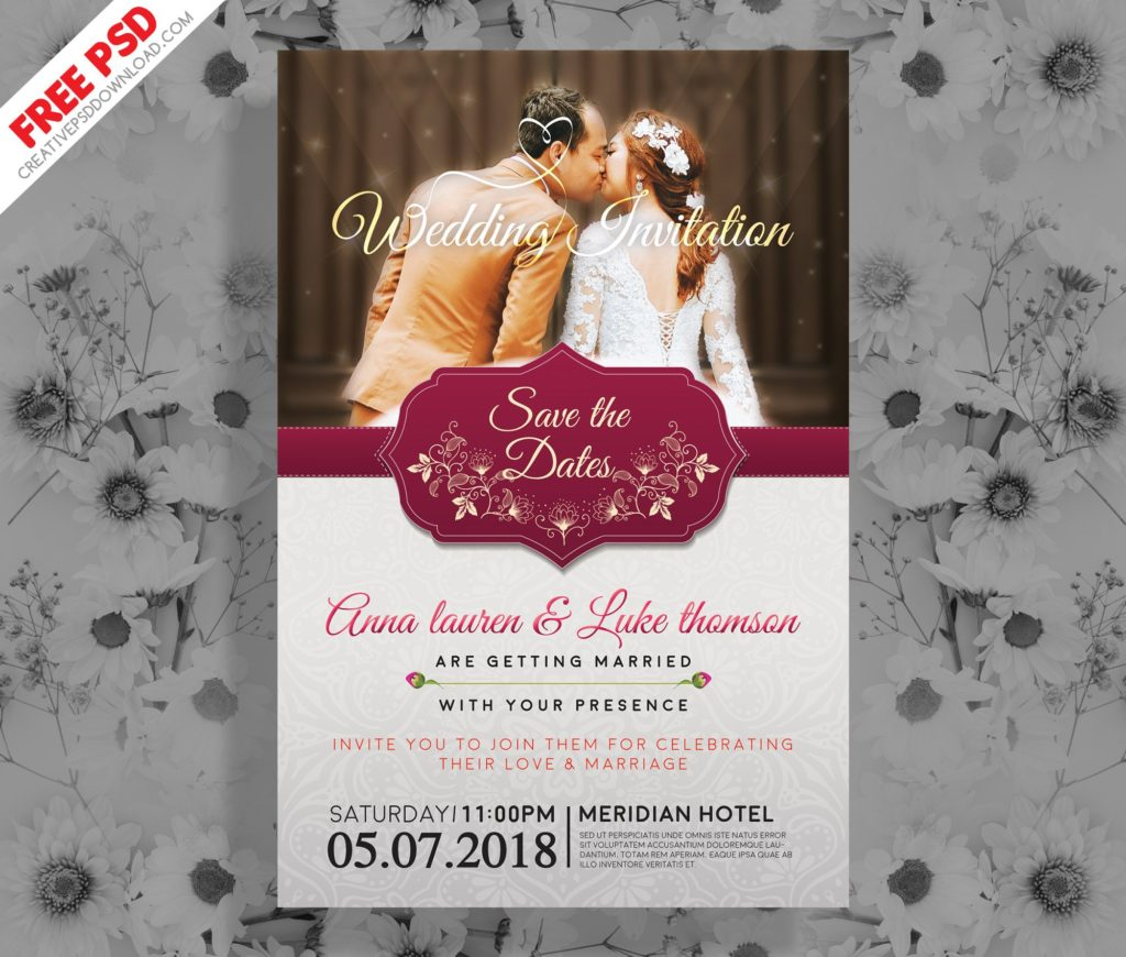 Wedding Invitation Post Card PSD