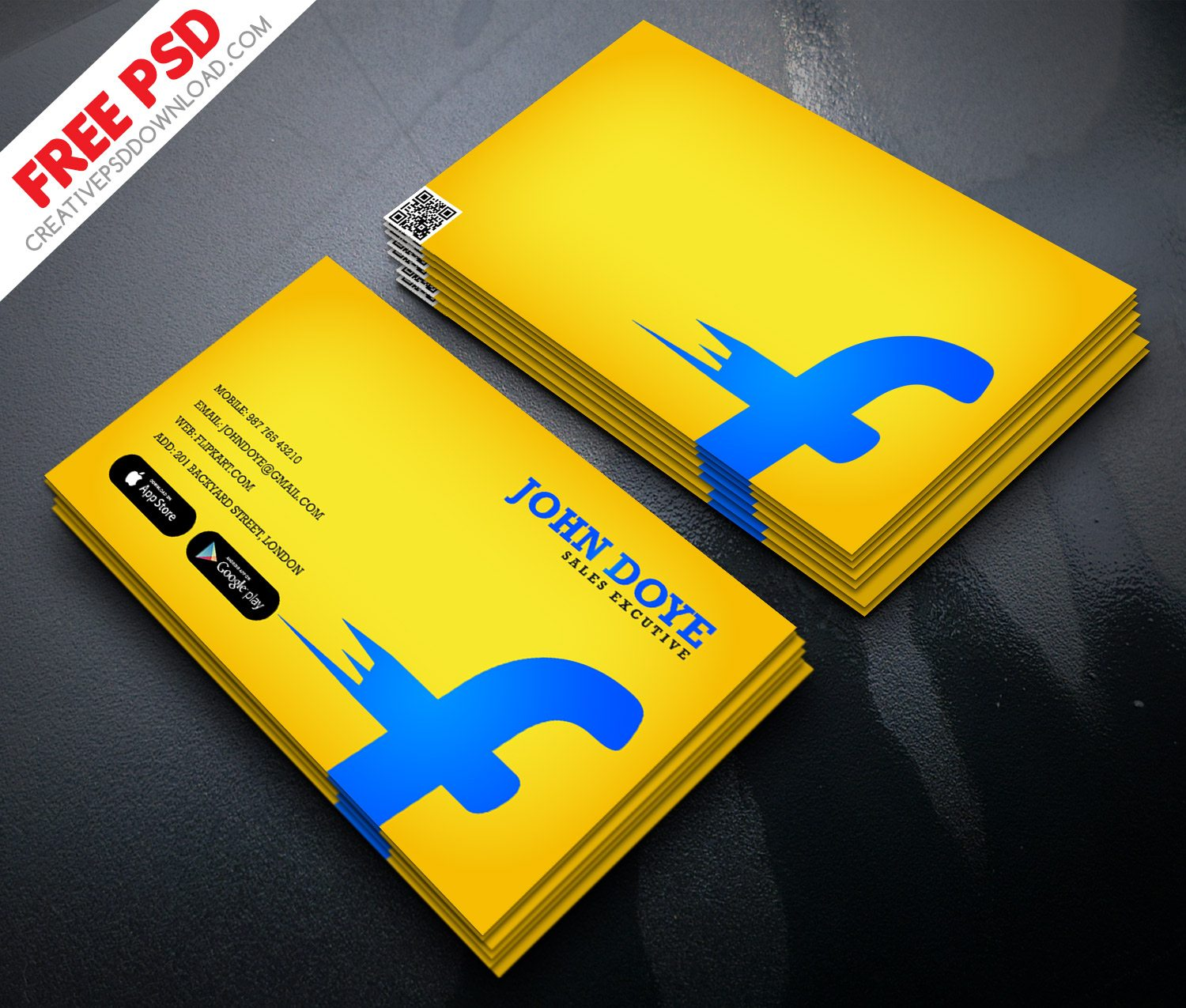 Flipkart Business Card Free PSD