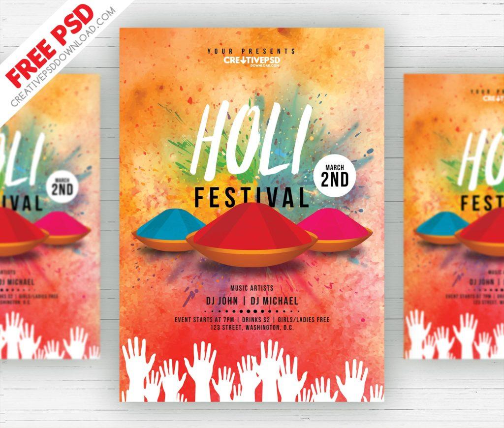 Holi Festival Flyer Free PSD