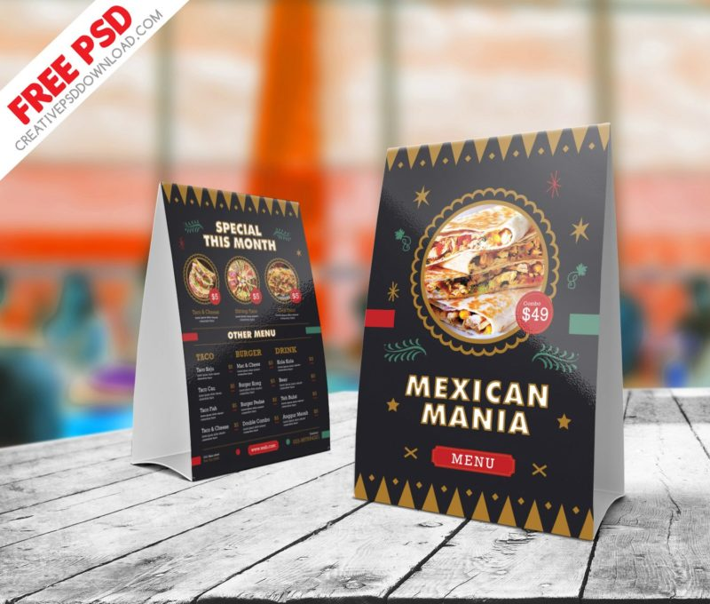 & Mexican Food Menu Table Tent Free PSD