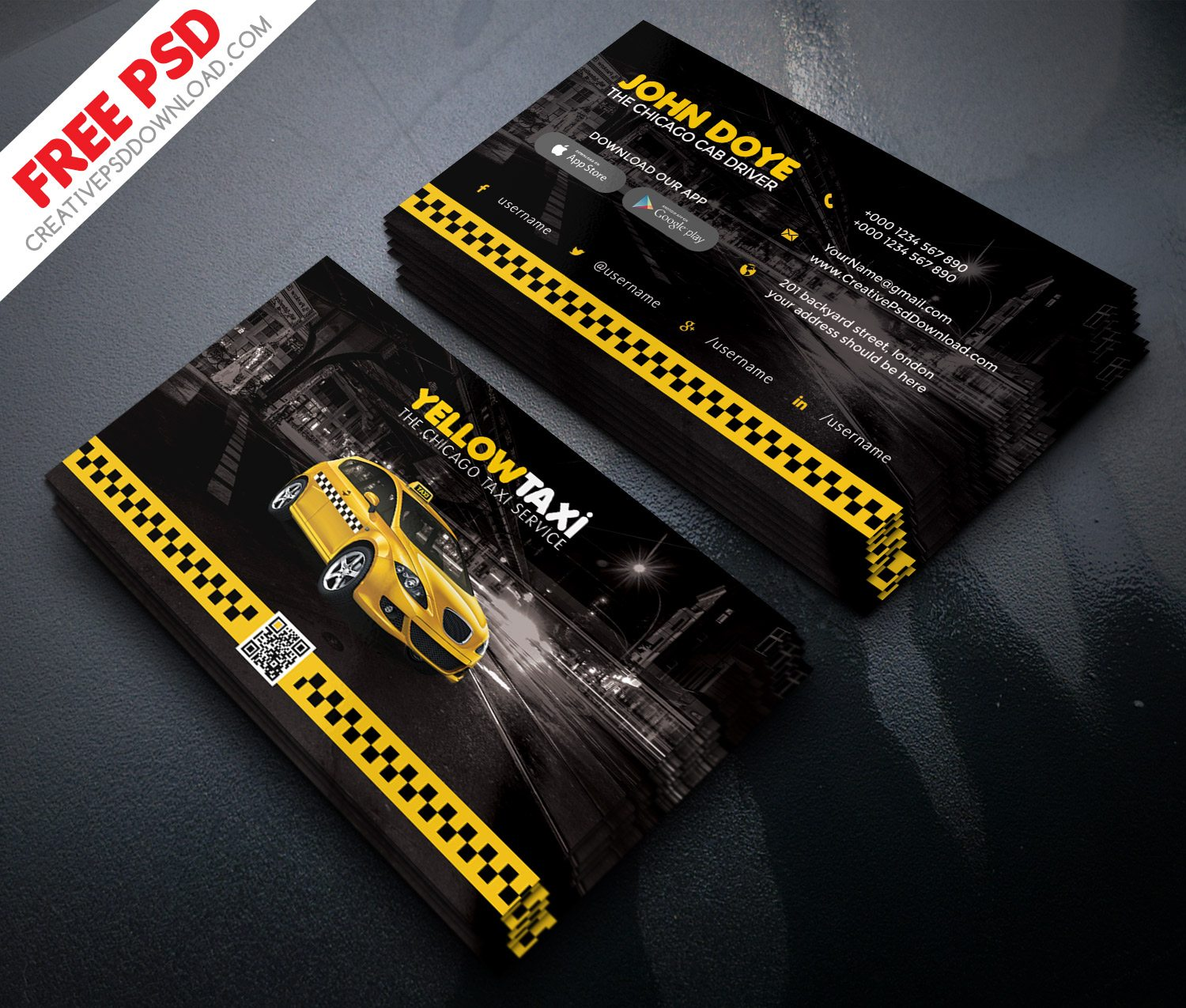 Taxi Service Business Card Free PSD