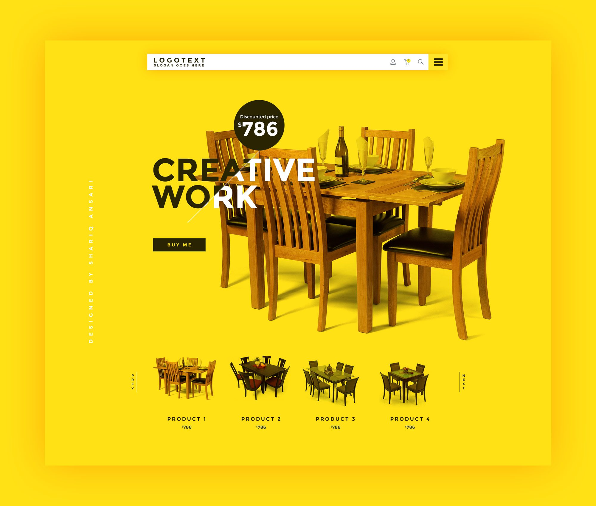 Furniture Website Template Free PSD