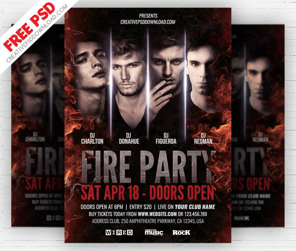 Fire Party Flyer Free PSD Template