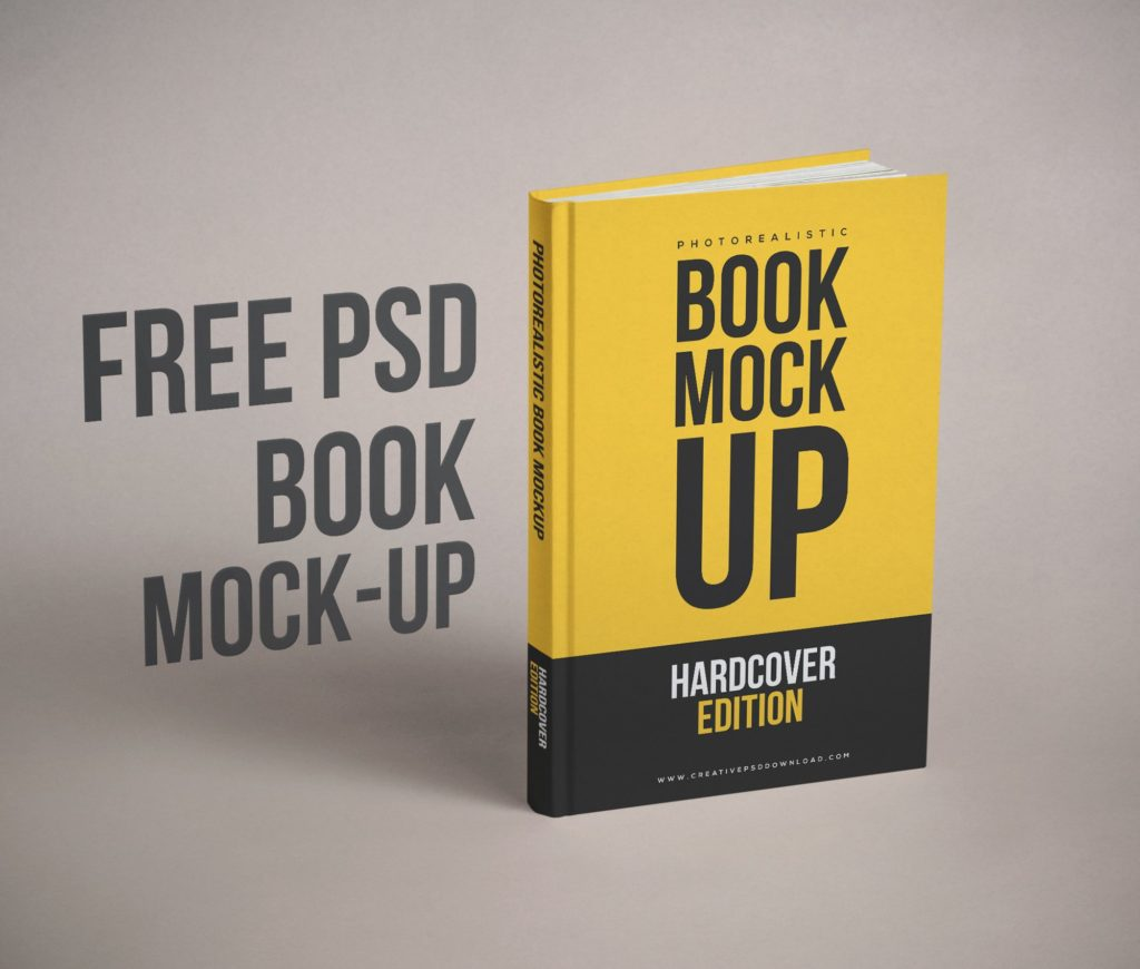 Realistic Book Cover Free PSD Mockup