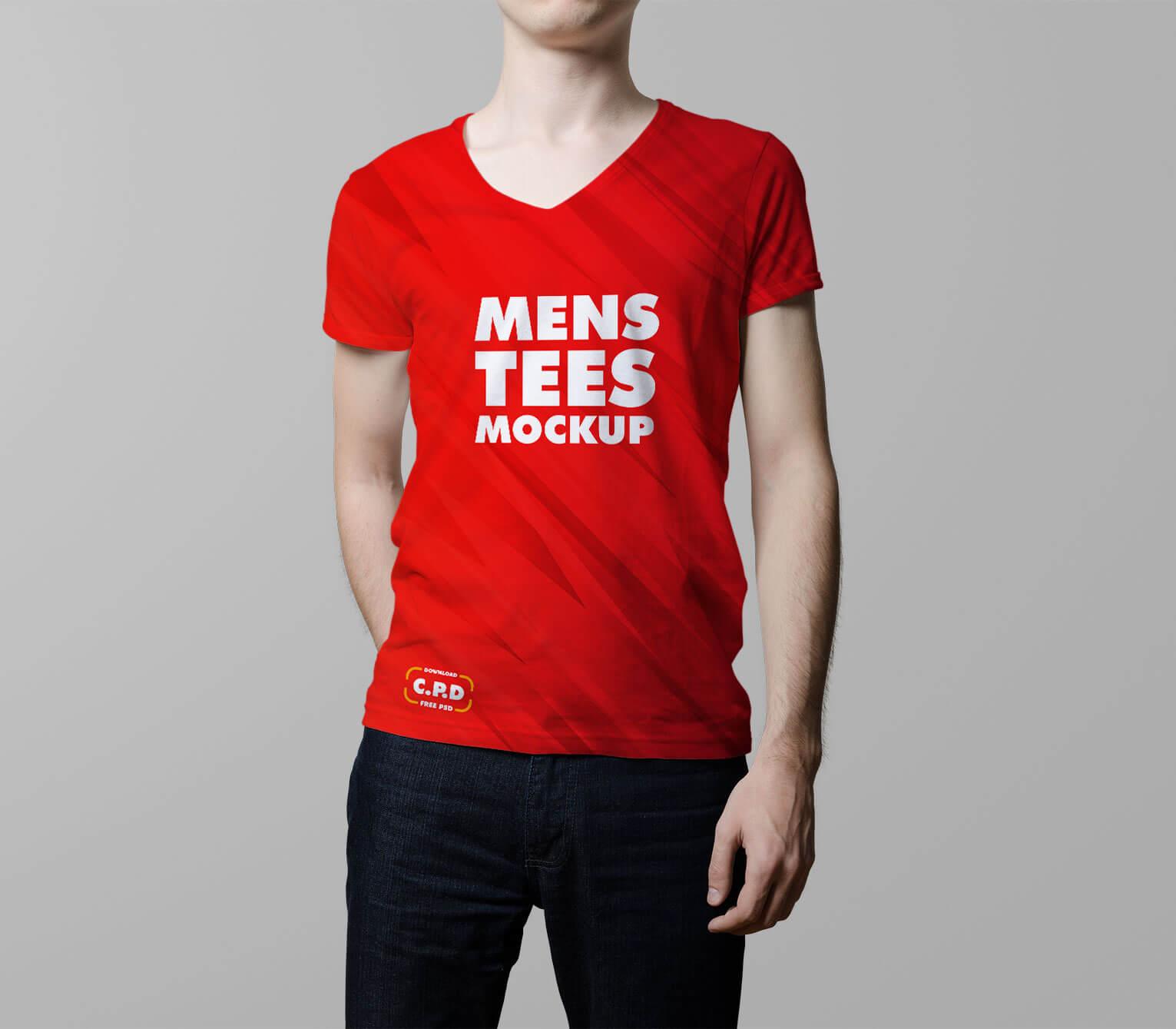 front side t shirt mockup, free tshirt mockup psd, V-Neck Male T-Shirt Mockup Free Psd