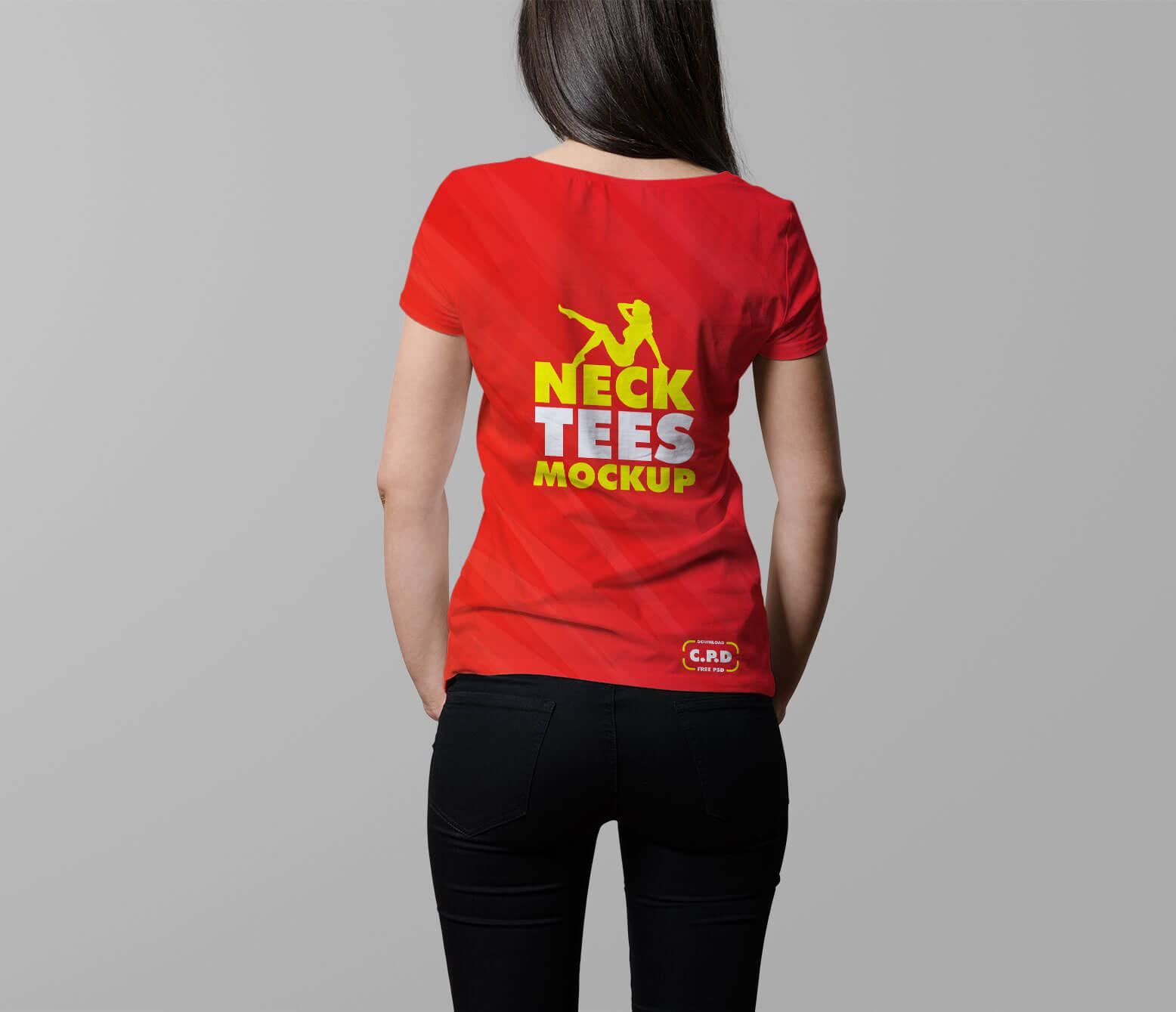 V-Neck Female T-Shirt Mockup Free Psd, t shirt back side mockup, back side t shirt mockup,
