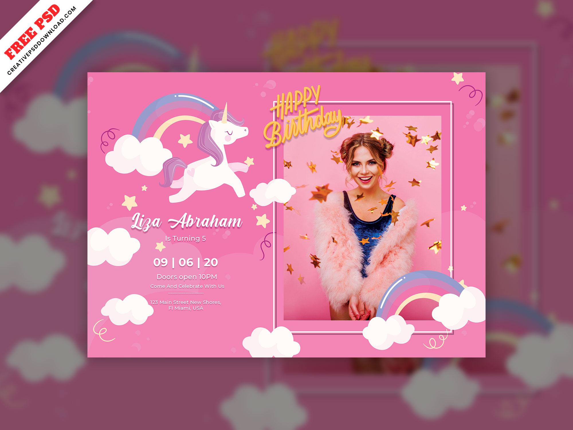 birthday card free psd